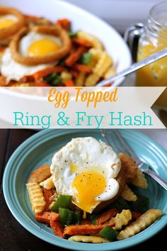 Egg Topped Ring and Fry Hash