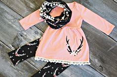 Floral Antler Tunic Set: a darling set with optional scarf accessory! From just $12.60 this week only!