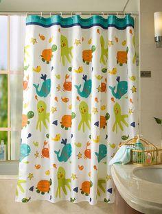 An Octupus Garden Kids Shower Curtain Bathroom Fabric Fish Tortoise By