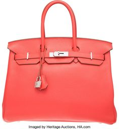 Hermes 35cm Rose Jaipur Clemence Leather Birkin Bag with PalladiumHardware. P Square, 2012. Excellent Condition....