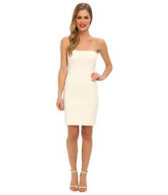 Nicole Miller Techy Cotton Strapless Fitted Dress White - 6pm.com
