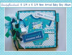 Premade album, Baby boy scrapbook,baby photos, New Baby scrapbook, boy scrapbook album, Baby photo album  Size: 6 1/4 X 6 1/4 Colors: Teal, lime green blues  Chipboard Covers & Spine 16 pages including front and back  Each page has a pull-out 5 1/2 X 5 1/2 tag, matted on front, blank on the back The album has lots of pockets, tags, and insert cards. Graphics are from nitwitcollections.com License #77308