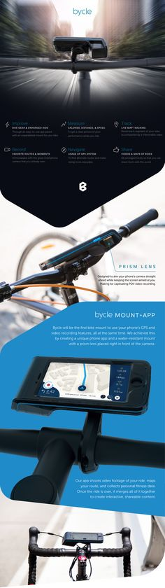 Bycle is raising funds for Bycle — iPhone bike mount+app that integrates map+video. on Kickstarter! The first bike mount that allows you to use your iPhone's GPS and video recording features simultaneously to document your journey. Iphone Gps, Maps Video, Bike Mount, Hardware Software, Cycling Gear, Fitness Tracker, Lens, Journey, In This Moment