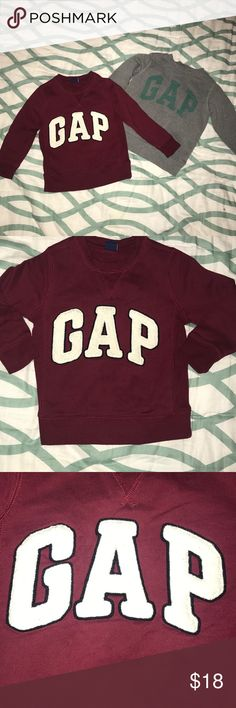 Lot of 2 - EUC Gap Kids Sweatshirts - Sz. 4 This lot has two Gap Kids sweatshirts that are in great condition. The burgundy sweatshirt has Gap across the front in variety letters. The Gray sweatshirt has Gap printed in green across the front. Both size 4! Shirts & Tops Sweatshirts & Hoodies