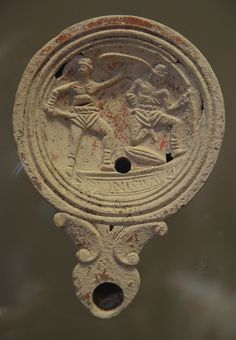 Oil lamp with gladiatorial scene, Romisch-Germanisches Museum, Cologne