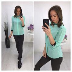 Блуза с манжетами, цвет ментол 6463 https://privately.ru/bluzy/bluza-s-manzhetami-cvet-mentol-6463/  Цена: Р1000.00