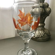 Fall Leaves, Thanksgiving Goblet, Etched Glass, Octoberfest, Give Thanks, 16 oz Glass, Thanksgiving Table Setting, Autumn, Fall Wedding by AnchorInCreativity on Etsy