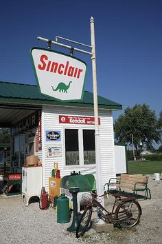 7e42fe5a2fe154 Route 66. Vintage Sinclair gas station on old Rt. 66 in Missouri. Includes