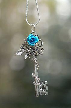 Blue Winter Rose Key Necklace by KeypersCove on Etsy Hair Jewelry, Jewelry Box, Jewelery, Jewelry Necklaces, Jewelry Making, Unique Jewelry, Key Necklace, Pendant Necklace, Winter Rose