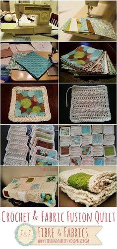 Check out @fibreandfabrics #crochet & #fabric fusion quilt - Fibreandfabrics Crafts Blog http://wp.me/p4kypa-3b