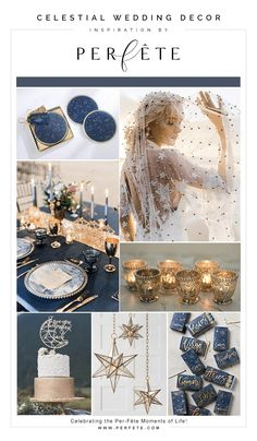 10 Perfête Wedding Trends for the 2019 Wedding Season - Perfete - Celestial wedding decor inspiration with navy blue and gold details – 10 Perfête Wedding Trends for the 2019 Wedding Season – Perfete Source by helloperfete - Galaxy Wedding, Starry Night Wedding, Moon Wedding, Celestial Wedding, Wedding Wishes, Dream Wedding, Wedding Day, Blue Gold Wedding, Gold Wedding Colors