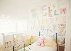 I adore this idea : Alphabet Walls . Great for a nursery and you could use any color/pattern!