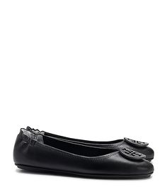MINNIE TRAVEL BALLET FLAT WITH LOGO, LEATHER