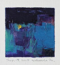 Sep. 19, 2015 - Original Abstract Oil Painting - 9x9 painting (9 x 9 cm - app. 4 x 4 inch) with 8 x 10 inch mat