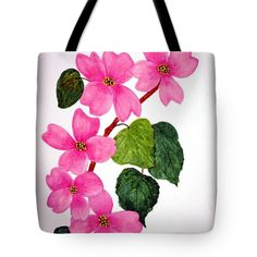 "Dogwood Five Tote Bag by Flamingo Graphix John Ellis (18"" x 18"").  The tote bag is machine washable, available in three different sizes, and includes a black strap for easy carrying on your shoulder.  All totes are available for worldwide shipping and include a money-back guarantee."
