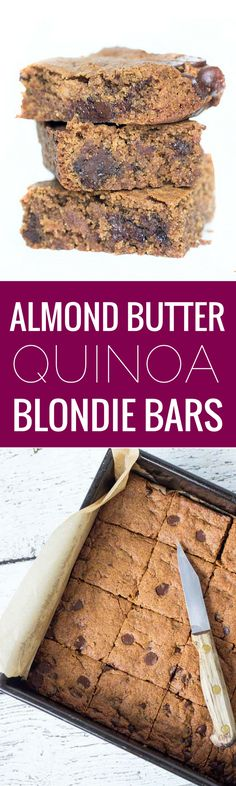 These Almond Butter Quinoa Blondies are the best blondies you'll EVER make. They're ooey, gooey, delicious and studded with dark chocolate chips. PLUS they're not only free from gluten, but they're also free from refined sugar, dairy and eggs!