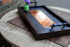 Serving Tray, Copper Centerpiece, Reclaimed Wood, Rustic Contemporary, Dark Brown Finish, 13 x 24 - Handmade by natureinspiredcrafts on Etsy https://www.etsy.com/listing/130623864/serving-tray-copper-centerpiece