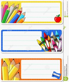 Illustration about School notebook labels isolated on white background. Classroom Charts, Classroom Labels, Classroom Decor, Notebook Labels, School Border, School Frame, Kids Background, School Labels, School Clipart