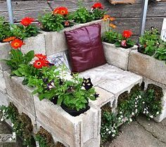 Cinder block garden chair. I could see this at my parent's.