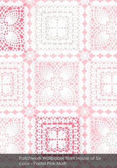 Patchwork Wallpaper from House of Six in Pastel Pink Multi