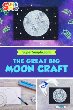 The Great Big Moon Craft - Super Simple Moon Activities, Craft Activities For Kids, Space Activities, Crafts For Kids, Moon For Kids, Art For Kids, Kindergarten Crafts, Preschool, Aluminum Foil Crafts