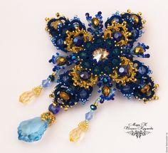 Купить Брошь Королевская звезда Авторская брошь анкарс, фриволите - темно-синий, брошь, синий - macrame brooch