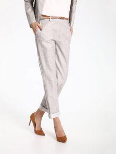 Top Secret Kalhoty dámské béžové společenské s páskem Top Secret, Parachute Pants, Capri Pants, Fashion, Moda, Capri Trousers, Fashion Styles, Fashion Illustrations