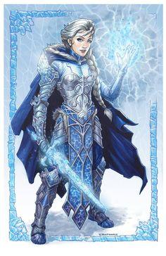 Elsa from Disney's Frozen donning battle armor by ZFischerillustrator on DeviantArt