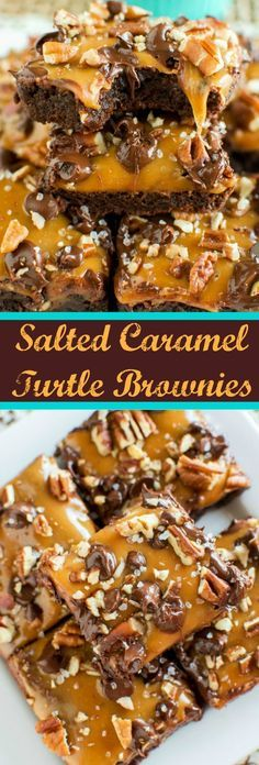 Easy Salted Caramel Turtle Brownies – The very BEST homemade fudge brownies topped with gooey caramel, sea salt, lots of chocolate chips and chopped pecans!
