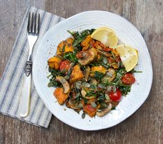 Warm Sweet Potato, Mushroom and Spinach Salad