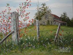 Rustic Barn Painting - Berry Barn by Val Stokes Watercolor Barns, Watercolor Landscape, Landscape Art, Landscape Paintings, Watercolor Paintings, Landscapes To Paint, Watercolour, Barn Pictures, Pictures To Paint