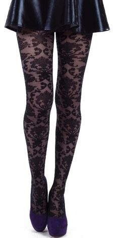 d67ad06cb62 plus size black designer pantyhose with baroque patterned Designer Tights