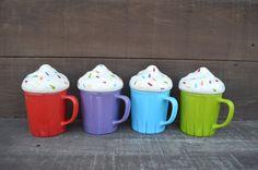 Yummy Cup of Cupcake  Ceramic Coffee Mug with Lid  14 by InAGlaze