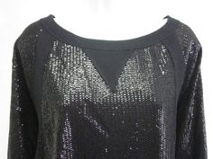 NWT PLENTY Black Sequin Embellished 3/4 Sleeve Scoop Neck Sweat Shirt Sz L $280 $139.00