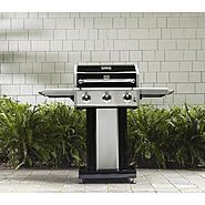 The Kenmore 3-burner patio grill features 552 square inches of cooking space and 30,000 BTUs of power. The generous side shelves fold down for compact storage. The sleek base houses an enclosed cabinet to hide that propane tank. This This grill can be easily moved around your outdoor space on the four swivel casters.
