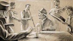 Halit Berati in movie General Gramafoni Pencil drawing Art. Kaba me klarinet.