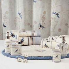 Blue Dragonfly Valley Fl Fabric Shower Curtain Bath Rug Embroidered Towels