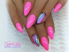 Want some ideas for wedding nail polish designs? This article is a collection of our favorite nail polish designs for your special day. Funky Nails, Neon Nails, Cute Acrylic Nails, Cute Nails, Pretty Nails, My Nails, Funky Nail Art, Nail Polish Designs, Acrylic Nail Designs