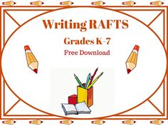 Do your students often give you just one or two sentences that only vaguely address the day's journal writing prompt?   One of the effective ways to present a journal entry writing prompt is the RAFT method. RAFTs provide very specific parameters for student to write within. Writing Resources, Writing Prompts, Second Grade Writing, Journal Entries, Rafting, Sentences, Students, Teacher, Free