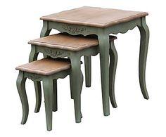 Set de 3 mesas auxiliares en madera Country