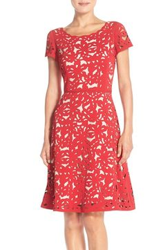 Nue by Shani Laser Cut Crepe Fit & Flare Dress