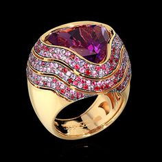 Mousson Atelier- New Age Collection- Wave ring- Yellow Gold, Amethyst 8,96 ct., Rubies, multicolored Sapphires. Price on request.