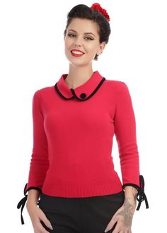 Collectif Nikki Knitted Jumper Rood red sweater trui