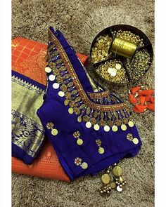 Bejeweled blouses to dazzle this wedding season! Wedding Saree Blouse Designs, Pattu Saree Blouse Designs, Half Saree Designs, Fancy Blouse Designs, Blouse Neck Designs, Mirror Work Blouse Design, Maggam Work Designs, Diana, Stylish Blouse Design