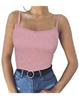 328ddedb652 Aunimeifly Women's Casual Sexy Solid Color Knit Shoulder Strap Vest Off  Shoulder Halter Tank Tops Pink