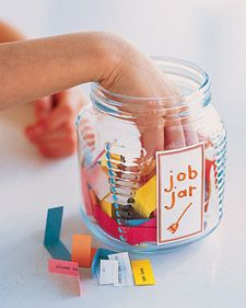 """I might call it a """"Mom, I'm Bored"""" jar and fill it both with jobs and fun stuff.  If the kid complains of being bored, they have to draw one from the jar."""