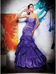 Taffeta Mermaid Strapless Softly Curved Neckline Rouched Bodice Prom Dress