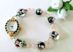 Handcrafted Crystal and Lampwork Glass Beaded Watch #Handmade