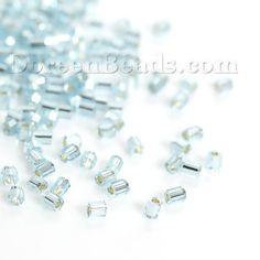 (Japon Importation) Perles de Rocailles en Verre Bleu Hexagone Argent Ligné, 2mm…