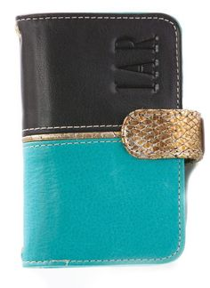 PANAMA   handmade luxury dual tone turquoise and black leather phone case with gold flap